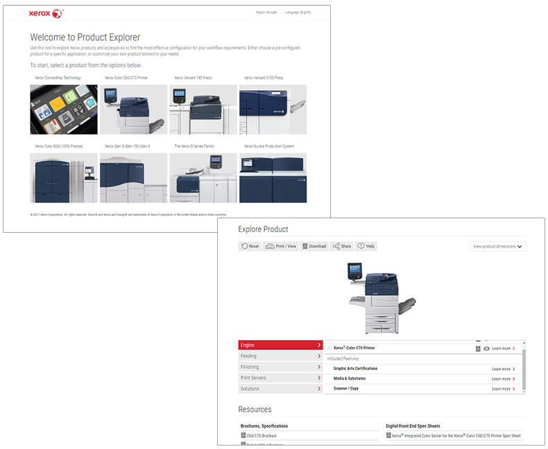 Screen captures from the Xerox® Product Explorer